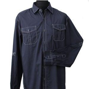 Michel Brandon Navy Blue Button Down. Size M
